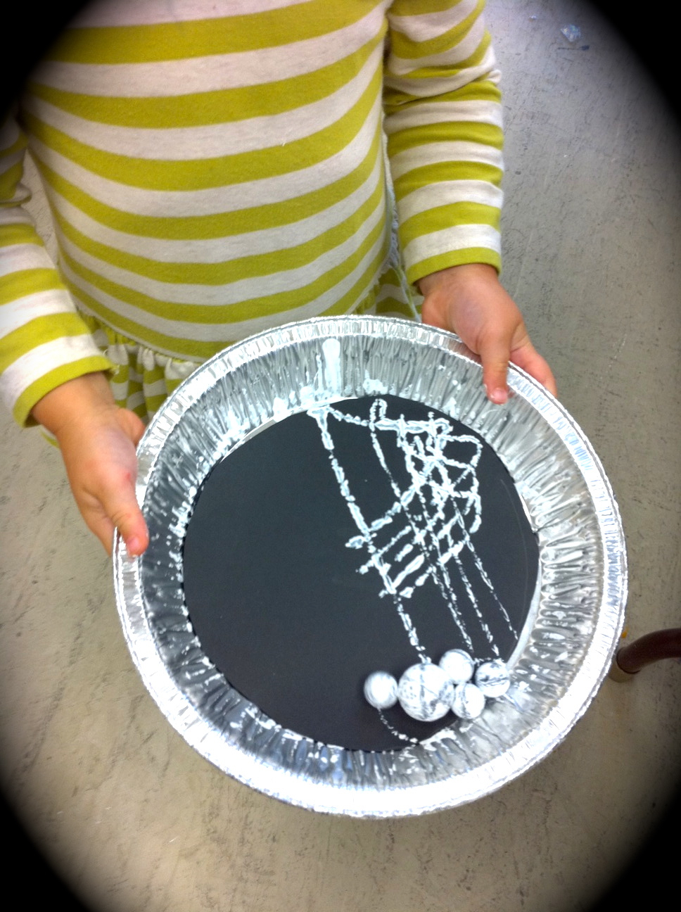 Halloween preschool marble painting